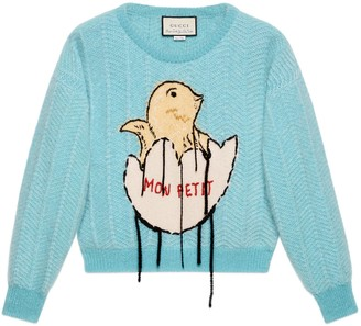 Gucci Mohair crop sweater with chick egg