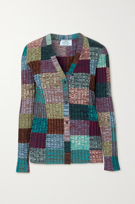 Prada Ribbed Patchwork Wool And Silk-blend Cardigan - Purple