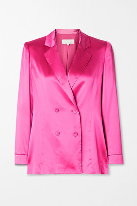 Fleur Du Mal Double-breasted Silk-satin Blazer - Bright pink