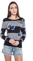 French Connection Argento Embroidered Striped Knit Sweater