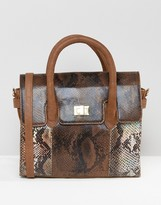 Urban Code Urbancode Mini Tote Bag With Optional Shoulder Strap In Multi Faux Snakeskin