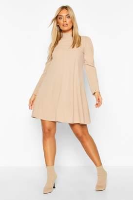 boohoo Plus Glitter Soft Rib Swing Dress With Puff Sleeve