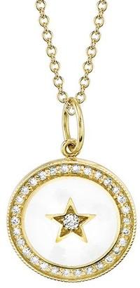 Andrea Fohrman Full/New Diamond and Enamel Moon Pendant Yellow Gold Necklace