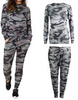 R Kon New Women's Ladies 2 Piece Army Camouflage Casual,jogging Tracksuit (Large/Xl, )