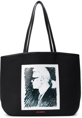 Karl Lagerfeld Paris profile print tote bag