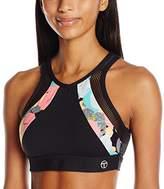 Trina Turk Recreation Women's Pop Camo Mesh Back Cut Out Detailed Sports Bra