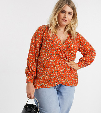 Fashion Union Plus wrap top in ditsy floral