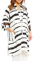IC Collection Plus Mesh Contrast Stripe Print Duster Jacket