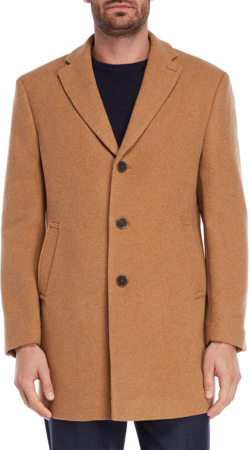 Calvin Klein Camel Wool-Blend Overcoat