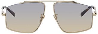 Brioni Gold and Tortoiseshell Square Sunglasses