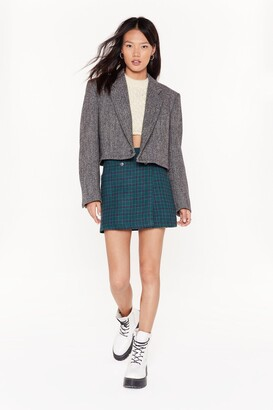 Nasty Gal Womens Vintage Crop 'Till You Drop Tweed Blazer - Grey - M/L