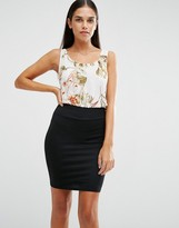 AX Paris Floral Chiffon Bodycon Dress