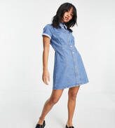 Thumbnail for your product : ASOS Petite ASOS DESIGN Petite denim fitted shirt dress in midwash