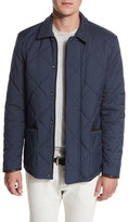 Loro Piana Wind Stretch Storm System®; Quilted Horsey® Jacket, Blue Navy