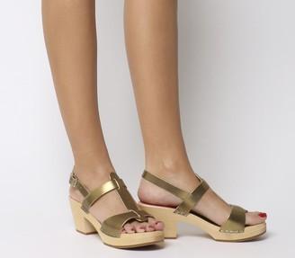 Swedish Hasbeens Greek Mid Heel Sandals Gold
