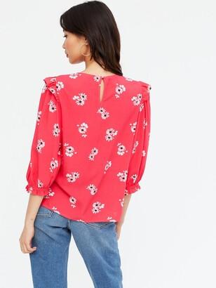 New Look DesireeThree Quarter Sleeve Frill Shell Top - Print