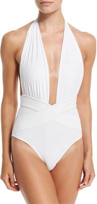 OYE Swimwear Roman Plunge-Neck One-Piece Swimsuit