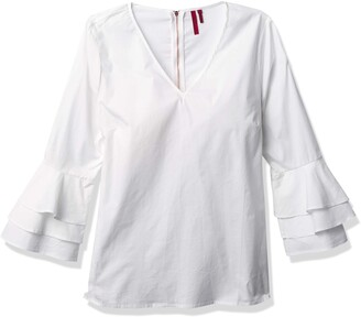 Love Scarlett Women's Petite V-Neck Shirt Tiered Ruffle Sleeve