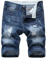 Jinmen Men's Regular Fit Ripped Distressed Straight Denim Short With Hole
