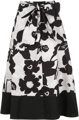 Natori button-through A-line skirt