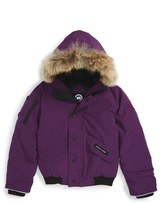Canada Goose Kid's 'Rundle' Down Bomber Jacket With Genuine Coyote Fur Trim