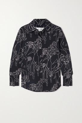 Victoria Victoria Beckham Printed Crepe Shirt - Midnight blue