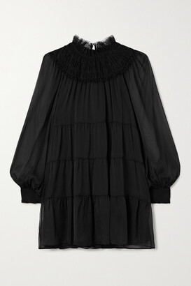 Alice + Olivia Kellyann Tiered Lace-trimmed Silk-chiffon Mini Dress