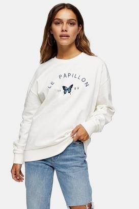 Topshop Womens Petite White Papillon Sweatshirt - White