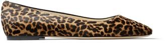 Jimmy Choo MIRELE FLAT Natural Mix Leopard Print Pony Flats with JC Emblem
