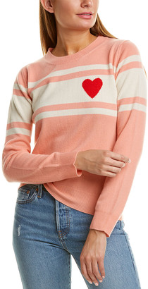 Chinti and Parker Heart Stripe Wool & Cashmere-Blend Sweater