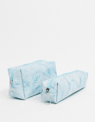 SVNX 2 pack cosmetic bags in blue marble