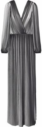 Rachel Gilbert Naya Wrap-effect Plisse Chiffon Gown