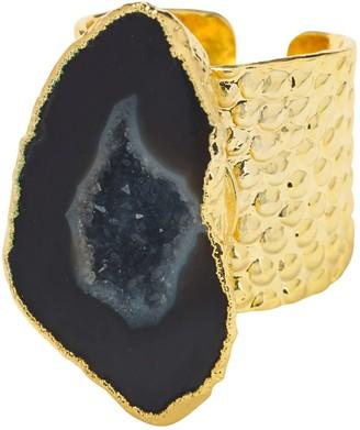 Yaa Yaa London Black Mega Gemstone Gold Statement Ring