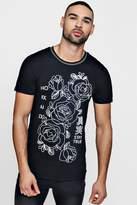 boohoo Floral Print T-Shirt With Sports Rib
