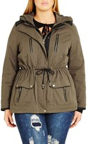 City Chic 'In Line' Drawstring Waist Military Parka (Plus Size)