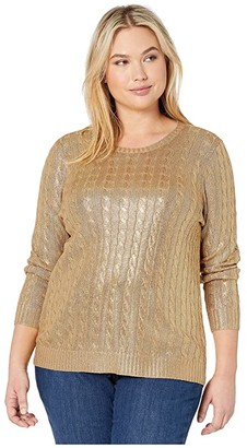 Lauren Ralph Lauren Plus Size Metallic Cable-Knit Sweater (Gold) Women's Clothing