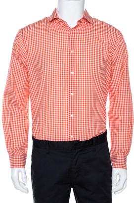 Etro Orange Gingham Check Cotton Long Sleeve Shirt M
