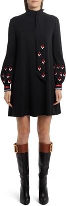 Valentino Arrow Embellished Long Sleeve Minidress