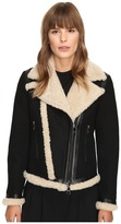 Neil Barrett Mixed Fabrics Doubleface Wool + Shearling Petit Biker Jacket Women's Coat