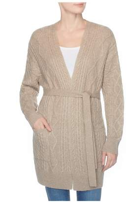 Magaschoni Cashmere Cable Self Belt Cardigan