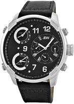 JBW The G4 Mens Diamond-Accent Black Leather Strap Watch J6248LB