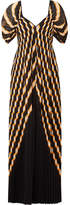 By Malene Birger Alvima Pleated Striped Chiffon Maxi Dress - Black
