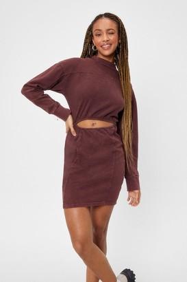 Nasty Gal Womens Going All Cut-Out Sweatshirt Mini Dress - Chocolate