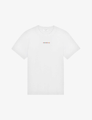 Sandro Rainbow logo-embroidered organic cotton-jersey T-shirt