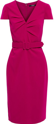 Badgley Mischka Belted Pleated Stretch-cady Dress