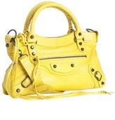 yellow lambskin 'First' top handle bag
