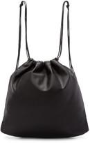 Tsatsas Black Leather Drawstring Xela Backpack