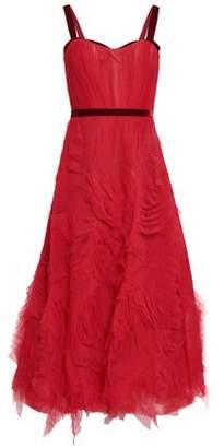 Marchesa Velvet-trimmed Ruffled Tulle Maxi Dress