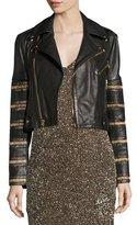 Alice + Olivia Cody Embellished Cropped Leather Jacket