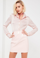 Missguided Galore Pink Satin Skinny Fit Shirt